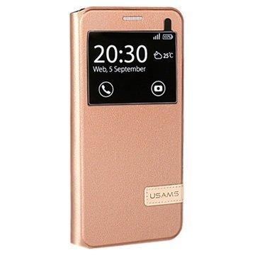 Samsung Galaxy A7 (2016) Usams Muge Series Ikkunallinen Kotelo Ruusukulta