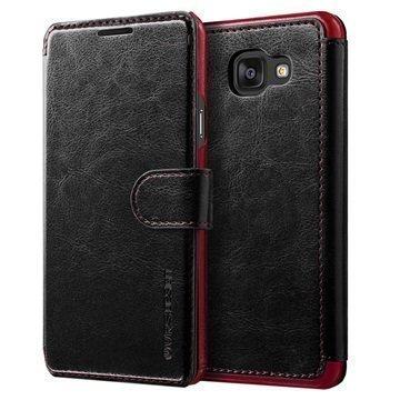 Samsung Galaxy A7 (2016) VRS Design Layered Dandy Series Lompakkokotelo Musta / Viininpunainen