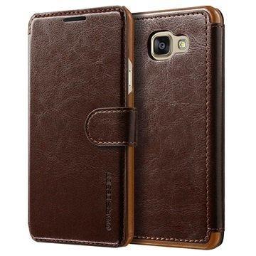 Samsung Galaxy A7 (2016) VRS Design Layered Dandy Series Lompakkokotelo Tummanruskea / Ruskea