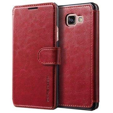 Samsung Galaxy A7 (2016) VRS Design Layered Dandy Series Lompakkokotelo Viininpunainen / Musta