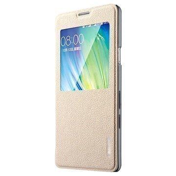 Samsung Galaxy A7 Baseus Primary Color View Nahkainen Kotelo Kultainen
