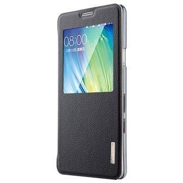 Samsung Galaxy A7 Baseus Primary Color View Nahkainen Kotelo Musta