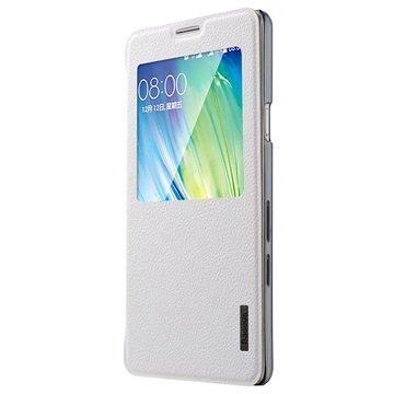 Samsung Galaxy A7 Baseus Primary Color View Nahkainen Kotelo Valkoinen