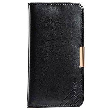 Samsung Galaxy A7 Kalaideng Royale II Nahkainen Lompakkokotelo Musta