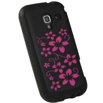 Samsung Galaxy Ace 2 I8160 iGadgitz Kukkakuvioitu Silikonikotelo Musta / Vaaleanpunainen