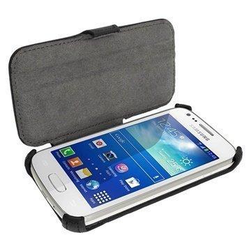 Samsung Galaxy Ace 3 S7270 S7275 iGadgitz Läpällinen Nahkakotelo Musta