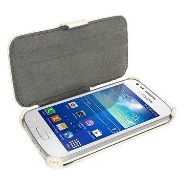 Samsung Galaxy Ace 3 S7270 S7275 iGadgitz Läpällinen Nahkakotelo Valkoinen