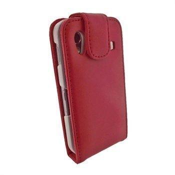 Samsung Galaxy Ace S5830 iGadgitz Nahkainen Läppäkotelo Punainen