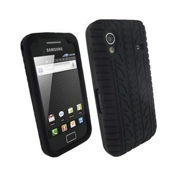 Samsung Galaxy Ace S5830 iGadgitz Rengaskuvioinen Silikonikotelo Musta
