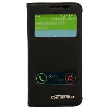 Samsung Galaxy Alpha Commander Cross Tuplaikkunallinen Nahkainen Läppäkotelo Musta