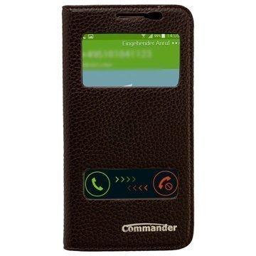 Samsung Galaxy Alpha Commander Tuplaikkunallinen Nahkainen Läppäkotelo Tummanruskea