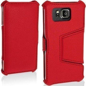 Samsung Galaxy Alpha iGadgitz Premium Nahkainen Läppäkotelo Punainen