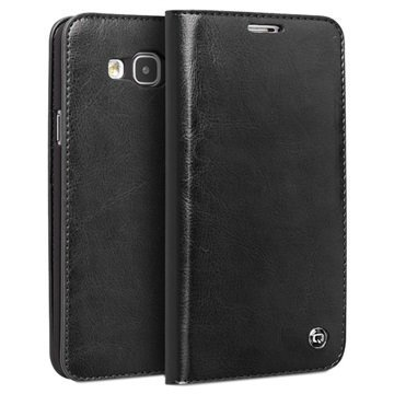 Samsung Galaxy E7 Qialino Classic Lompakkomallinen Nahkakotelo Musta
