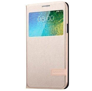 Samsung Galaxy E7 Usams Muge Series Smart Kotelo Kultainen