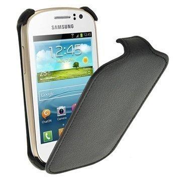 Samsung Galaxy Fame S6810 Igadgitz Flip Nahkakotelo Musta
