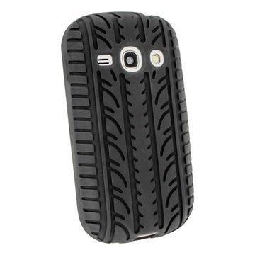 Samsung Galaxy Fame S6810 Igadgitz Tyre Tread Desing Silikonikotelo Musta