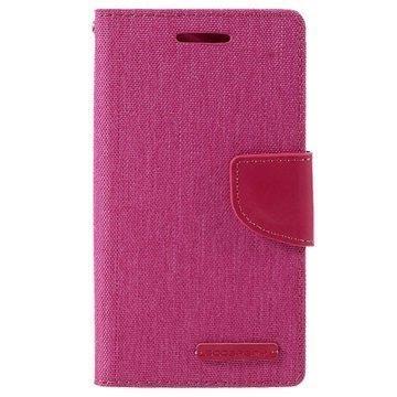 Samsung Galaxy J1 Ace Mercury Goospery Canvas Diary Lompakkokotelo Kuuma Pinkki