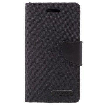 Samsung Galaxy J1 Ace Mercury Goospery Canvas Diary Lompakkokotelo Musta