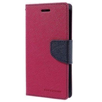 Samsung Galaxy J2 Mercury Goospery Fancy Diary Lompakkokotelo Kuuma Pinkki / Tummansininen