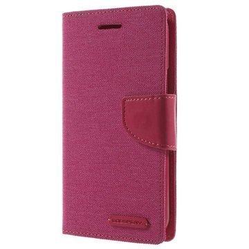 Samsung Galaxy J5 Mercury Goospery Canvas Diary Lompakkokotelo Kuuma Pinkki