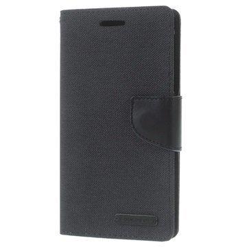 Samsung Galaxy J5 Mercury Goospery Canvas Diary Lompakkokotelo Musta