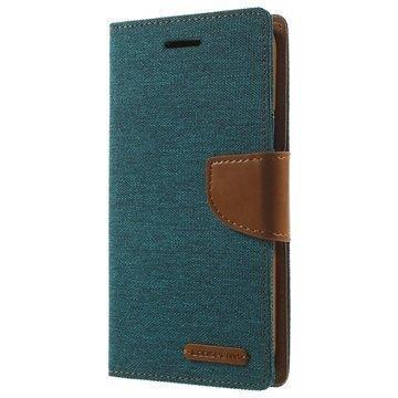Samsung Galaxy J5 Mercury Goospery Canvas Diary Lompakkokotelo Vihreä