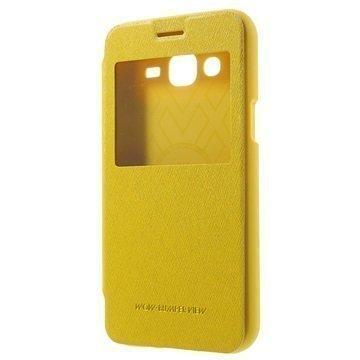 Samsung Galaxy J5 Mercury Goospery Wow Bumper Ikkunallinen Läppäkotelo Keltainen