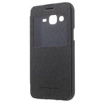 Samsung Galaxy J5 Mercury Goospery Wow Bumper Ikkunallinen Läppäkotelo Musta