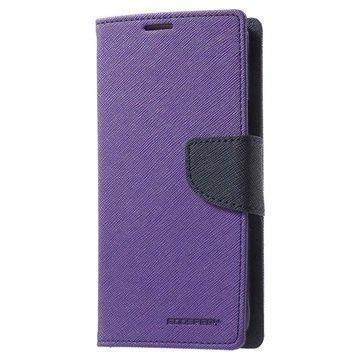 Samsung Galaxy J7 (2016) Mercury Goospery Fancy Diary Lompakkokotelo Violetti / Tummansininen
