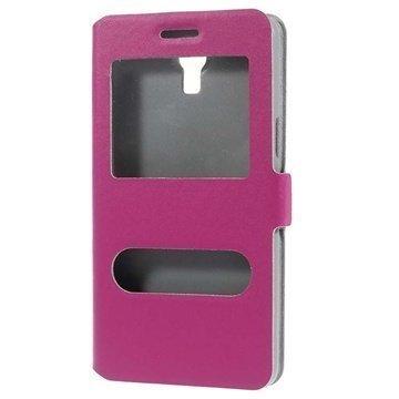 Samsung Galaxy Mega 2 Doormoon Double View Läpällinen Nahkakotelo Kuuma Pinkki