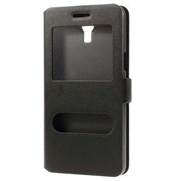 Samsung Galaxy Mega 2 Doormoon Double View Läpällinen Nahkakotelo Musta