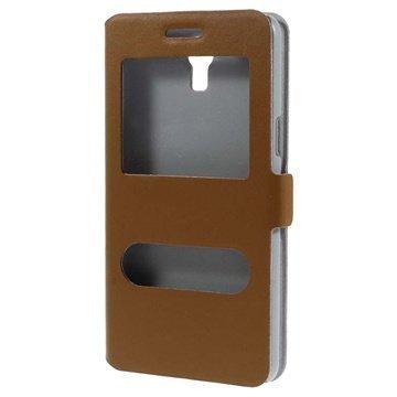 Samsung Galaxy Mega 2 Doormoon Double View Läpällinen Nahkakotelo Ruskea