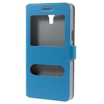 Samsung Galaxy Mega 2 Doormoon Double View Läpällinen Nahkakotelo Sininen