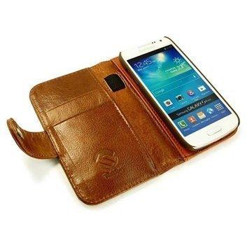 Samsung Galaxy Mini S4 I9190 I9192 Tuff-Luv Vintage Wallet Nahkakotelo Ruskea