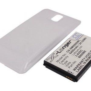 Samsung Galaxy Note 3 Galaxy Note III SM-N9000 tehoakku erillisellä laajennetulla valkoisella takakannella 6400 mAh