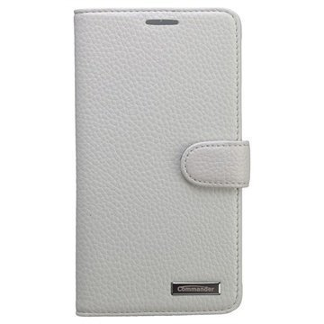 Samsung Galaxy Note 4 Commander Book Ellite Nahkainen Suojakotelo Valkoinen