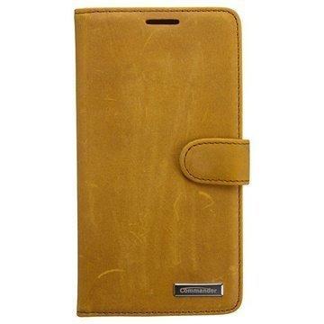 Samsung Galaxy Note 4 Commander Book Vintage Nahkainen Suojakotelo Ruskea