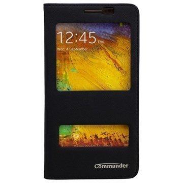 Samsung Galaxy Note 4 Commander Cross Tuplaikkunallinen Nahkainen Läppäkotelo Musta
