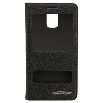 Samsung Galaxy Note 4 Commander Tuplaikkunallinen Nahkainen Läppäkotelo Musta