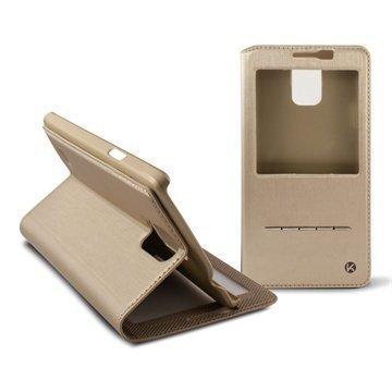 Samsung Galaxy Note 4 Ksix Window Folio Nahkakotelo Kulta