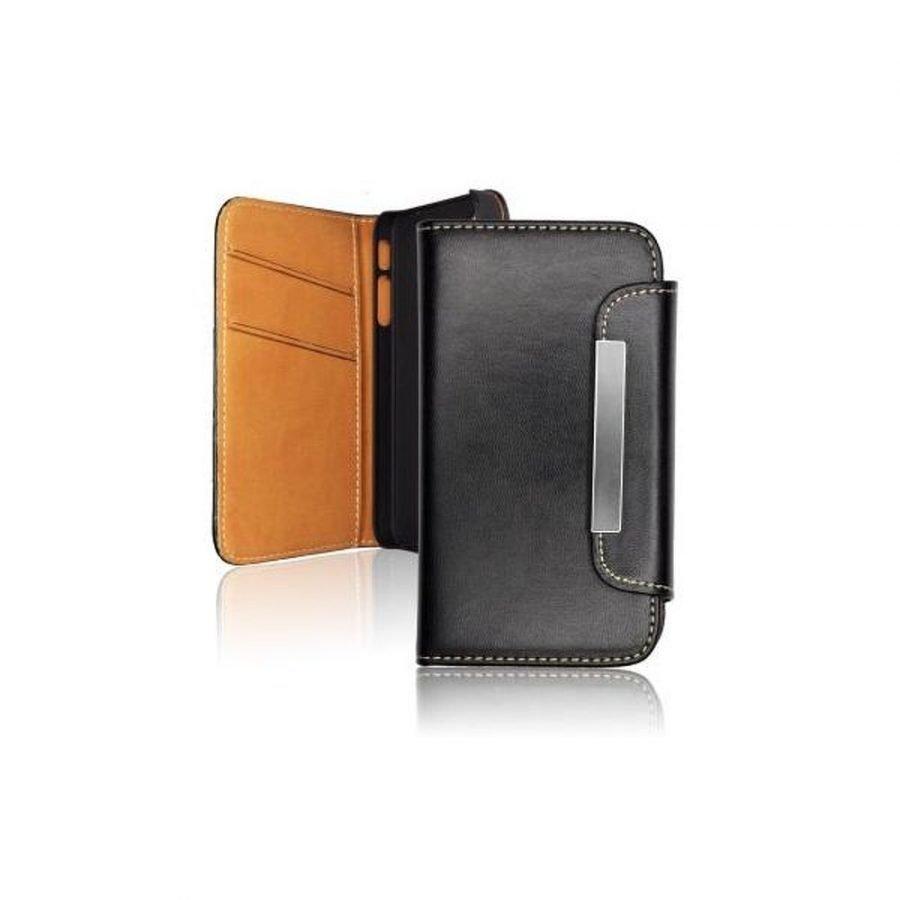 Samsung Galaxy Note 4 Lompakko magneettikiinnityksellä keinonahkainen suojakotelo Musta