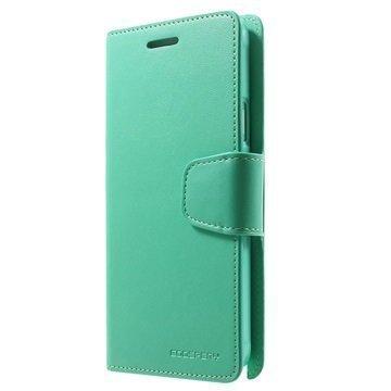 Samsung Galaxy Note 4 Mercury Goospery Sonata Diary Wallet Case Cyan