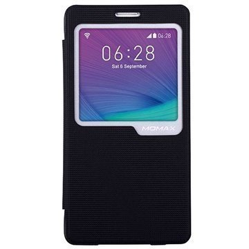 Samsung Galaxy Note 4 Momax View Flip Kotelo Musta
