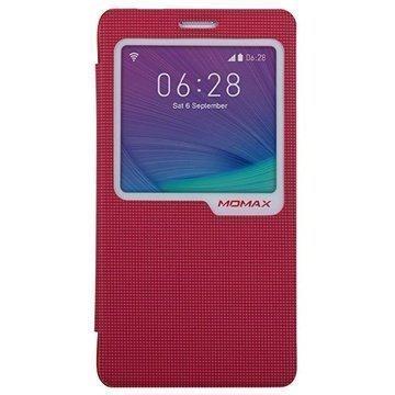 Samsung Galaxy Note 4 Momax View Flip Kotelo Punainen