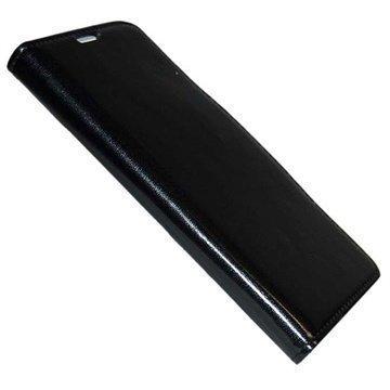 Samsung Galaxy Note 4 UreParts Uranus Nahkainen Kirjamainen Suojakotelo Musta