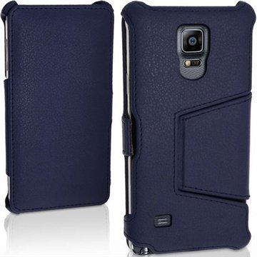 Samsung Galaxy Note 4 iGadgitz Premium Nahkainen Läppäkotelo Tummansininen