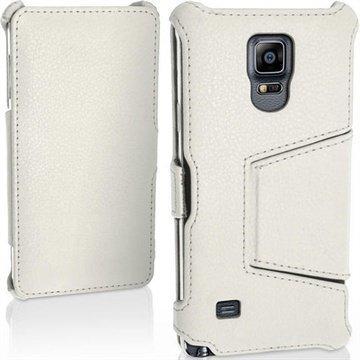 Samsung Galaxy Note 4 iGadgitz Premium Nahkainen Läppäkotelo Valkoinen