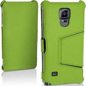 Samsung Galaxy Note 4 iGadgitz Premium Nahkainen Läppäkotelo Vihreä