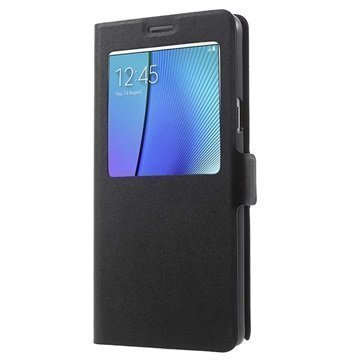 Samsung Galaxy Note 5 Doormoon View Flip Nahkakotelo Musta