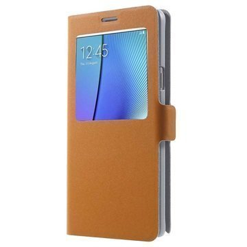 Samsung Galaxy Note 5 Doormoon View Flip Nahkakotelo Oranssi